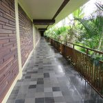 Walkway from pool to rooms/front loby