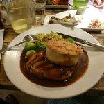 Turkey, ham hock and stuffing pie, mash etc