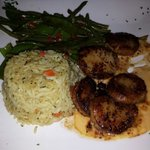 Scallops three ways with rice pilaf