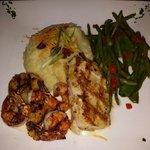 Seafood grill, including Mahi Mahi scallops and shrimp with mashed potatoes