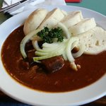 Goulash with onions and white bread. the best dish I had on this trip.