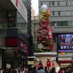 Christmas decoration outside of Isquare Mall in TST