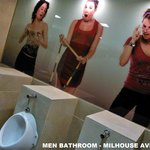 Funny art at Milhouse Avenue Hostel men´s bathroom