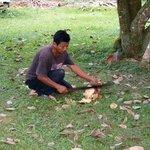 Un des employé entrain de nous couper une coco fraiche