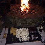 smores outside by the fireplace