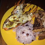 The lobster with rice and beans and toasts