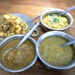 Side dishes: Potato Veera, Aloo Gobi, Masala Fish and Curry Mutton. I really like the fish and a