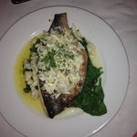 Pompano fish with a crab sauce