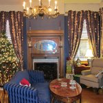 The front room decorated for Christmas