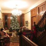 The upstairs hall decorated for Christmas