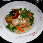 A fabulous Chicken Gorgonzola, with Apricots and a Sherry reduction sauce, potato cakes, spinach
