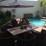 My first breakfast at garden in Monte Bello Guest House