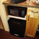 Microwave, Personal coffee maker, mini fridge