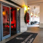 The beautiful entrance to the hotel in the spirit of the Season