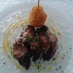 meat dish with potato and cheese arancino. Delicious