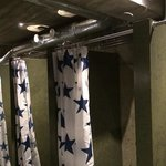 there are 4 showers in the women's shower room - hot water