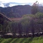 Vista de los jardines y las montañas verdes al fondo