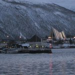 Arctic cathedral across harbor