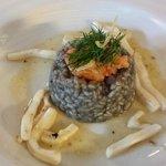 Sauteed Squid, Risotto Nero, Tempura Prawn, Garlic Butter