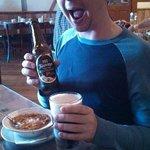 Enjoying goulash with my favorite beer, Köstritzer Schwartzbier.