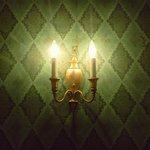 Light fixture, in Emerald Suite.
