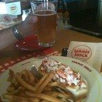 Lobster roll and Sam Adams