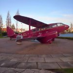 Old plane outside the front of the building (DH89 Dragon Rapide)