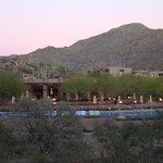 Looking towards pool at dusk