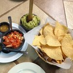 complimentary chips and crazy great salsa!!! a side of yummy guacamole