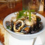 Delicious mussels, seafood & tiger prawns