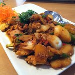 Spicy Pumpkin Cashew Basil with egg vegetables and Chicken