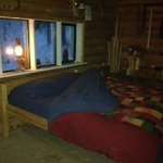 Bed for the night.  Goose down duvet and insulated mattress cover to keep you snug as a bug in a