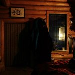 Cosy inside of our cabin for the night lit with Parafin Lamps