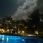 The adult pool by night