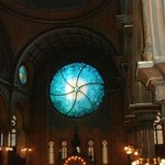 new stained glass window at synagogue