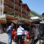 Bellerive electric van picking us up at train station in Zermatt