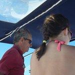 My daughter and Captain Richard sailing