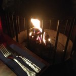 Roaring fire in the bar