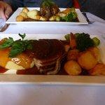 generous turkey dinner and lamb shank...