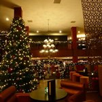 View of reception area from lounge - Beautiful Christmas decorations