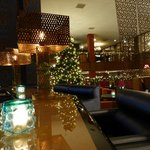 Lounge area with Christmas decorations