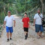 Cancun Manny walking along with us at Ek Balam