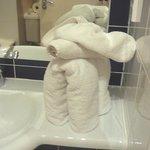 Towel animal in bathroom