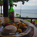 pork satay dinner & view from restaurant