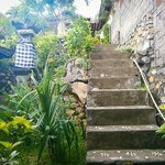steps from restaurant to bungalows: one more flight below & one more up
