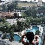 View from my room (Level 9) Look at our daughter enjoying the view!