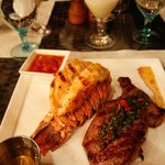 Grilled lobster tail and steak