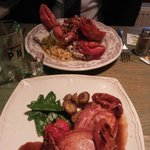 Our mains - lobster with tagliatelle & (suckling) pork chob