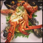 Seafood platter with fresh caught crayfish.