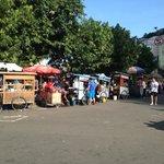 The mini stalls outside the plaza
